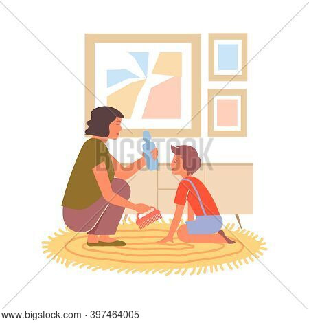 Woman And Girl Cleaning Carpet In Living Room Flat Vector Illustration