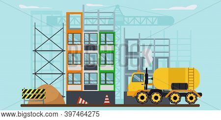 The Process Of Building New Homes. Vector Illustration