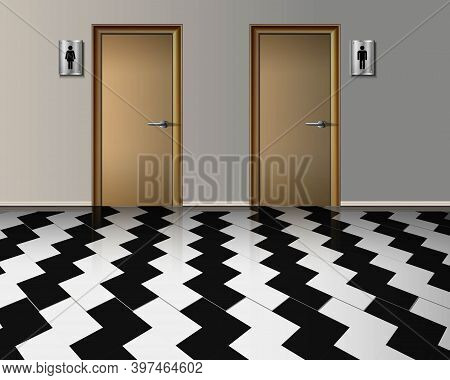 Vector Realistic Interior Of Public Toilet Of Female And Man Entrance With Wooden Doors And With Cor