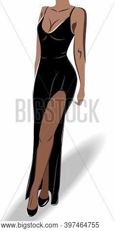 Elegant Tanned Woman Dressed In A Vulgar Black Dress And High Heels