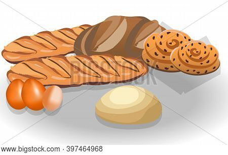 Composition Of Bread Loafs, Bagels, Eggs And Dough