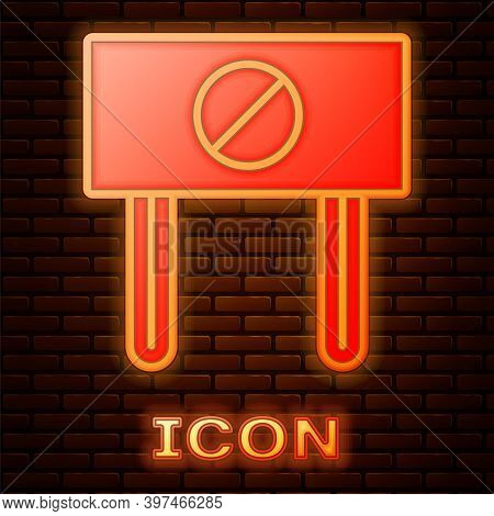 Glowing Neon Protest Icon Isolated On Brick Wall Background. Meeting, Protester, Picket, Speech, Ban