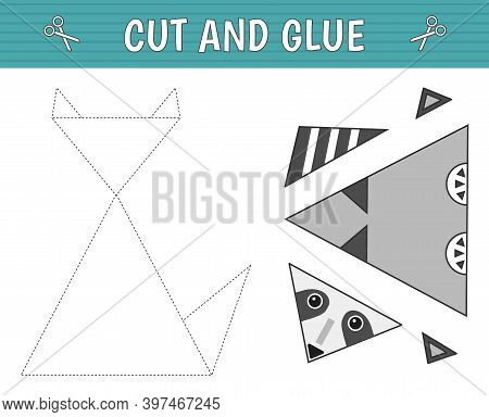 A Raccoon Of Geometric Shapes. Cut And Glue. Children's Game. Constructor, Application. Vector Illus
