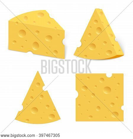 Cheese With Holes. Realistic Triangular Chunk Of Cheese.