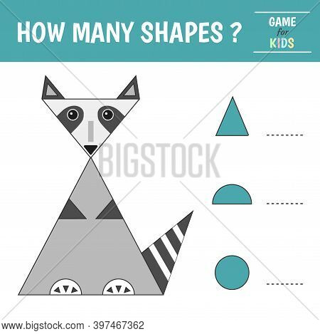 Educational Game For Kids. Raccoon Of Geometric Shapes. Count Circles, Half-sphere, Triangle. Presch