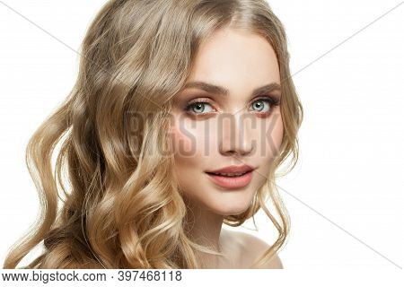 Beautiful Woman Face On White. Model With Blonde Hair And Natural Makeup