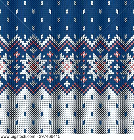Scandinavian Knitted Seamless Pattern. Norwegian Native Style Sweater, Ornament With Snowflakes. Fai