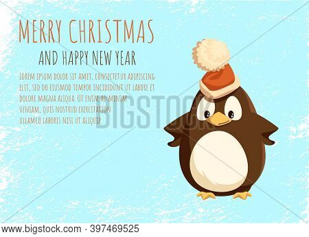 Merry Christmas Card, Penguin In Santa Hat On Ice. Arctic Bird In Festive Headdress With Bubo, New Y