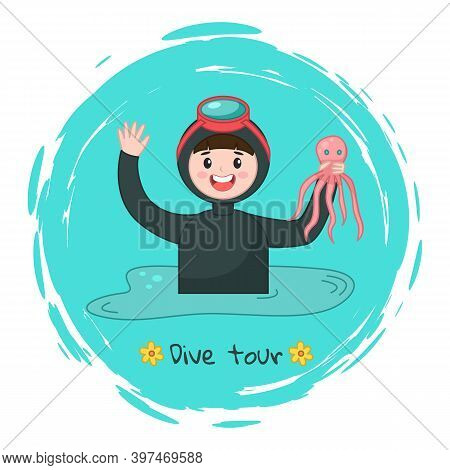 Diver In Diving Mask Holding Octopus At Background Of Sea Water, Dive Tour Sticker In Round Shape, U