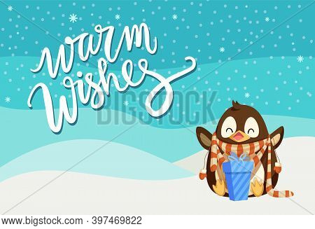Merry Christmas Penguin Wearing Knitted Scarf Vector. Poster With Greeting, Animal Happy Of Present