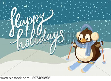 Merry Christmas Happy Holidays Greeting Poster Vector. Penguin Animal Wearing Warm Clothes Knitted S
