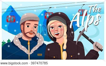 Concept Of Videoplayer Interface. Travelers Telling About Visited Place. Young Couple Travel To Alps