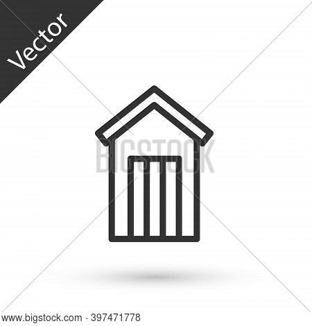 Grey Line Wooden Outdoor Toilet Icon Isolated On White Background. Vector