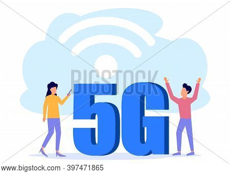 Flat Style Vector Illustration, 5g Network Technology. Internet Signal. The People Around The Big 5g