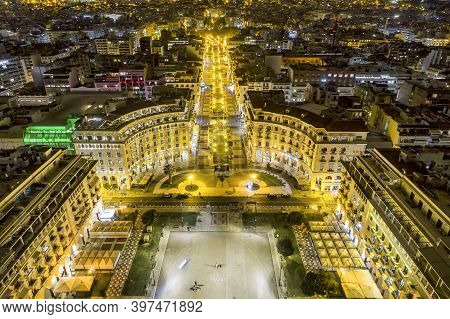 Aerial View Of Famous Aristotelous Square The Night In Thessaloniki