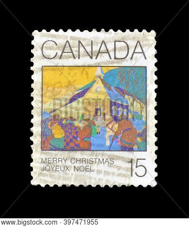 Canada - Circa 1980 : Cancelled Postage Stamp Printed By Canada, That Shows Painting By Frank Charle