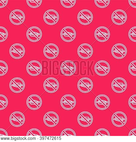 White Line Food No Diet Icon Isolated Seamless Pattern On Red Background. Healing Hunger. Vector