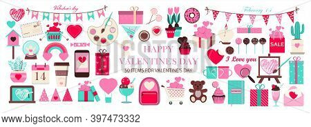 Huge Set Of Icons For Valentine S Day. Vector Illustration Of 50 Objects For The Holiday On February