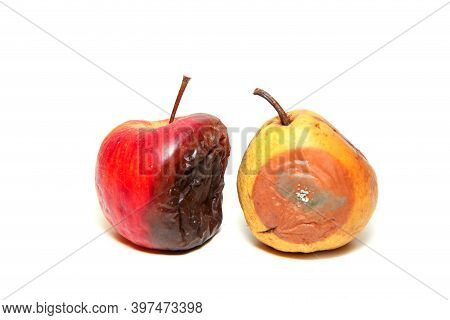 The Uneatable Rotten Apple And Mouldy Pear. Isolated On A White Background.