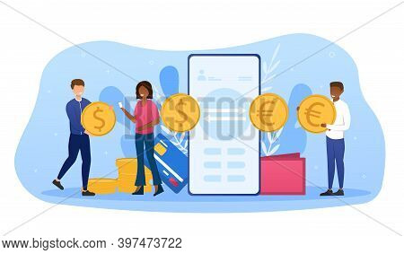 Abstract Concept Of Currency Exchange. Currency Converter, Online Money Transfer, Euro And Dollar Co