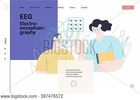 Medical Tests Illustration - Eeg - Electroencephalography - Modern Flat Vector Concept Digital Illus