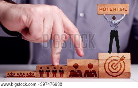 Coach Motivate To Personal Development. Personal And Career Growth. Potential And Motivation Concept