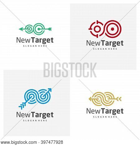 Set Of Infinity Target Logo Vector Template, Creative Target Logo Design Concepts, Icon Symbol, Illu