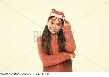 Holiday Party For Kids. Happy Girl Enjoy Santa Party. Little Kid Wear Funny Santa Hat Glasses Mask.