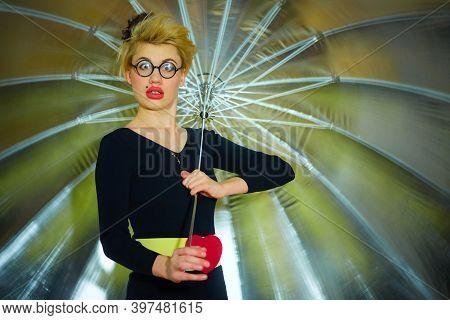 The Clown With An Umbrella. Health And Fun Concept.