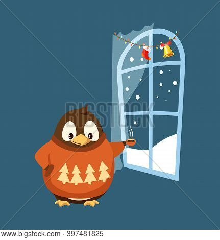 Merry Christmas Penguin Standing By Window At Night Vector. Animal Wearing Warm Clothes Sweater With