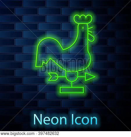 Glowing Neon Line Rooster Weather Vane Icon Isolated On Brick Wall Background. Weathercock Sign. Win