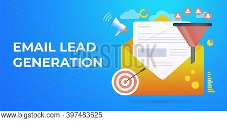 Email Lead Generation Concept. Digital Business E-mail Marketing Strategy. Work With Client After Ab