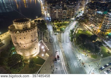 White Tower Square The Night, In Thessaloniki, Greece