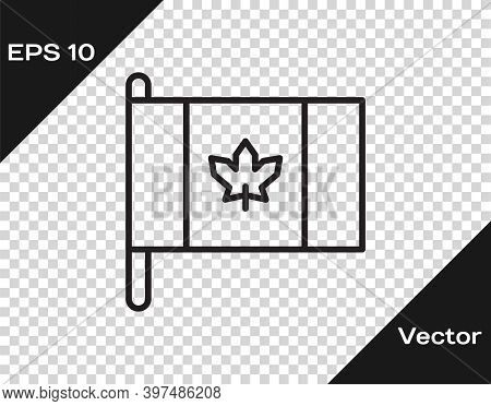 Black Line Flag Of Canada Icon Isolated On Transparent Background. North America Country Flag On Fla