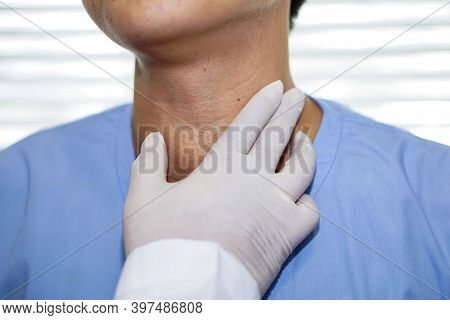 Asian Lady Woman Patient Have Abnormal Enlargement Of Thyroid Gland Hyperthyroidism (overactive Thyr