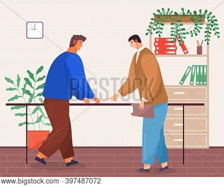 Business Partners Teamwork In Office With Green Plants, Meeting, Conference, Workers Discussing Proj