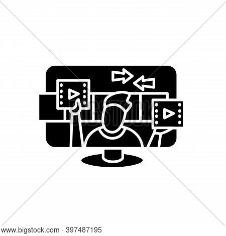 Video Editing Glyph Icon. Filled Flat Sign For Edit Studio Website Design. Post Production And Video