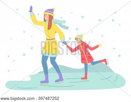 Mother And Daughter Playing Ice Skating On Rink Outdoor In The Winter Season During Christmas Holida