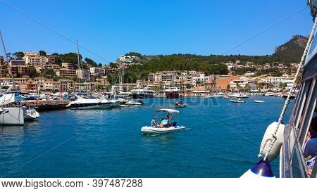 Mallorca, Spain: June 21, 2018: Beautiful Harbour Scenery Of Port Of Soller (puerto De Soller)
