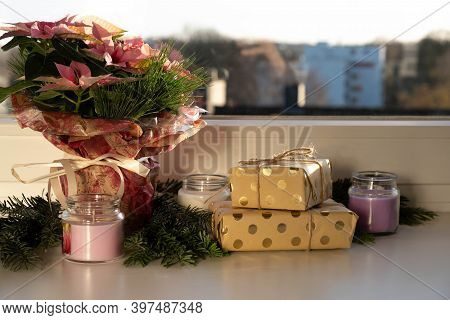 A Bouquet Of Flowers On A Windowsill With Gifts In The Morning Light