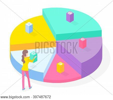 3d Pie Diagram, Pie Chart. Isometric Infographics. Financial Strategy. Visual Presentation. Analysis