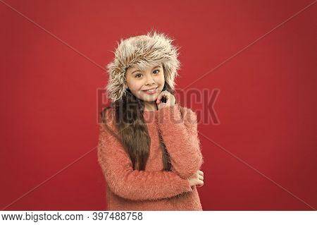 Winter Season. Shopping Concept. Keep Head In Warmth. Feeling Warm. Child Long Hair Soft Hat. Winter