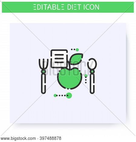 Healthy Recipe Line Icon. Dietary Cuisine. Diet. Weight Loss. Portion Control. Healthy Eating. Dieta