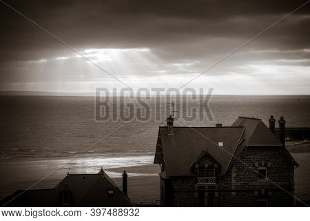 Pleneuf Val Andre City And Beach View At Sunset In Summer, Brittany, France. Black And White