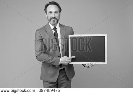 Advertising Education. Teacher Point Finger At School Blackboard. Advertising Product Or Service. Ad