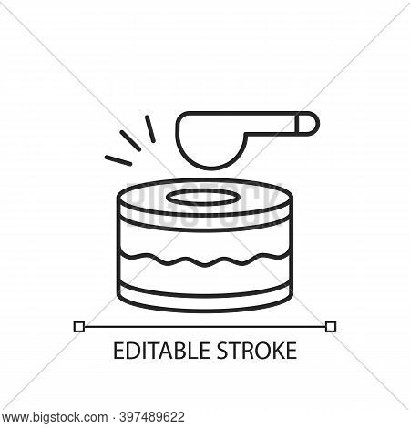 Drums Linear Icon. Ramadan Music Instrument. Waking Up All People Before Dusk To Eat Food. Thin Line