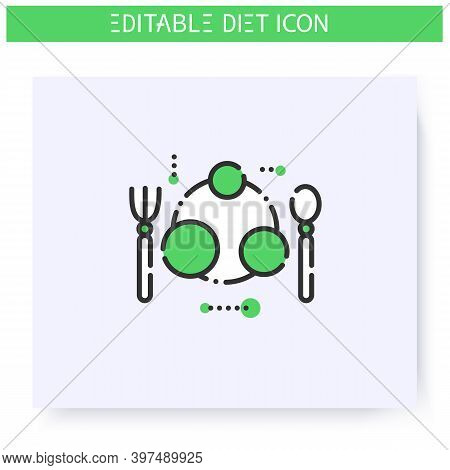 Portion Size Plate Line Icon. Serving Size. Diet. Weight Loss. Portion Control. Healthy Eating. Diet