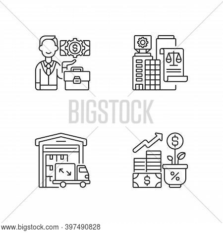 Commercial Business Linear Icons Set. Businessman, Legal Entity, Warehouse And Profit Growth Customi