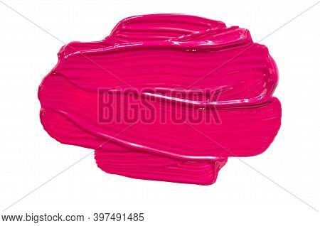 Smear And Texture Of Pink Lipstick Or Acrylic Paint Isolated On White Background. - Image