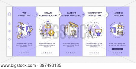 Top Workplace Safety Violations Onboarding Vector Template. Protection From High Places Falling. Res